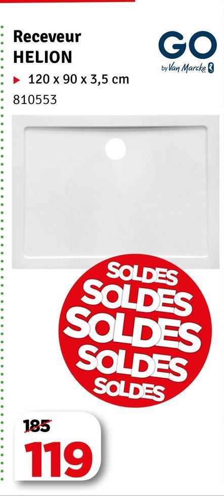 GO Receveur : HELION 120 x 90 x 3,5 cm 810553 by Van Marcke ooooooooo SOLDES SOLDES SOLDES SOLDES SOLDES 185 119