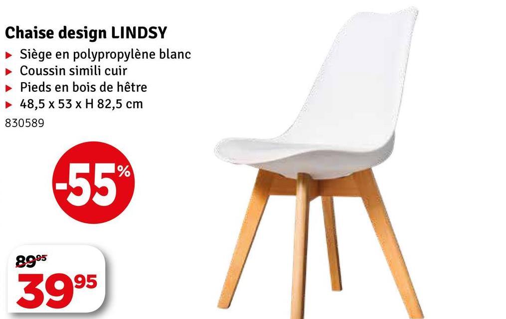 Chaise design LINDSY Siège en polypropylène blanc Coussin simili cuir Pieds en bois de hêtre 48,5 x 53 x H 82,5 cm 830589 8995 3995