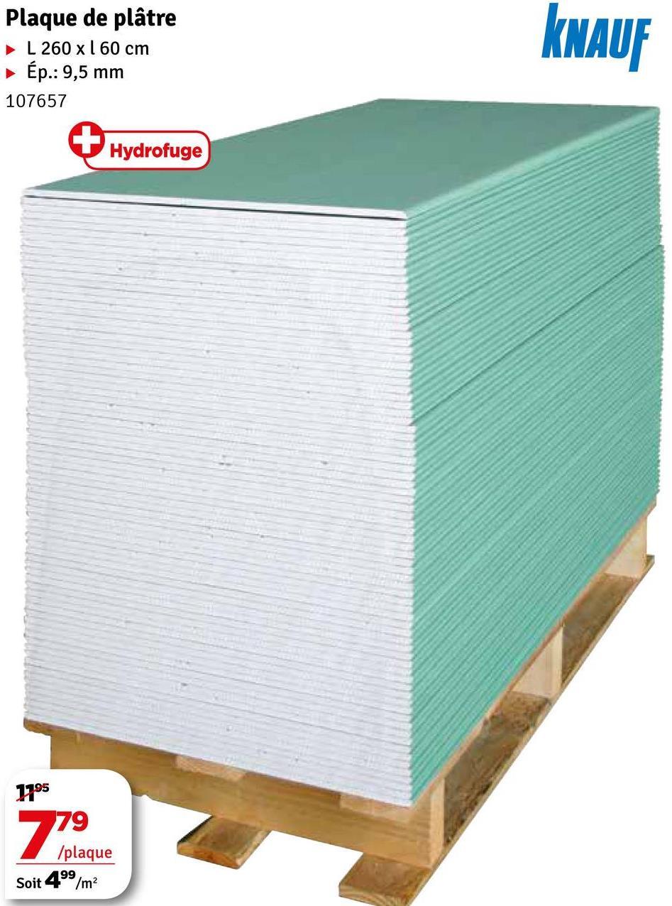 Plaque de plâtre L260 x 160 cm • Ép.: 9,5 mm 107657 KNAUF V Hydrofuge 1795 79 /plaque Soit 499/m2