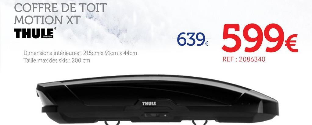 Coffre De Toit Taille Xl Thule Motion Xt 6298b Noir Brillant 500 L Ce coffre de toit Thule a été spécialement conçu pour offrir un espace de rangement optimal et facile d'accès. L'expérience de Thule en matière de coffre de toit n'est plus a démontrer. Encore une fois, la marque suédoise a tenu compte des besoins de ses clients pour innover dans un coffre facile à monter, sécurisé et entièrement aérodynamique. -Muni d'une technologie PowerClick, un indicateur émet un cliquetis qui vous assure que votre coffre est correctement monté vous assurant une sécurité maximale. -Le système SlideLock indique la position de fermeture du coffre et vous confirme que le coffre est verrouillé de manière sécurisée. -Facile à ouvrir et à fermer en toutes circonstances grâce à des poignées extérieures amovibles et à un dispositif d'ouverture/fermeture intellingente. Le motionXT XL dispose d'un volume de 500 litres et d'une capacité de chargement de 75kg. Le partenaire idéal de tous vos voyages.. - Un coffre de toit au design optimisé et aérodynamique pour répondre à tous vos besoins.Système de montage radipe PowerClick. Muni de poignées extérieures qui facilitent l'ouverture et la fermeture du coffre -Equipé d'un système de fermeture sécurisé -Ouverture bilatérale