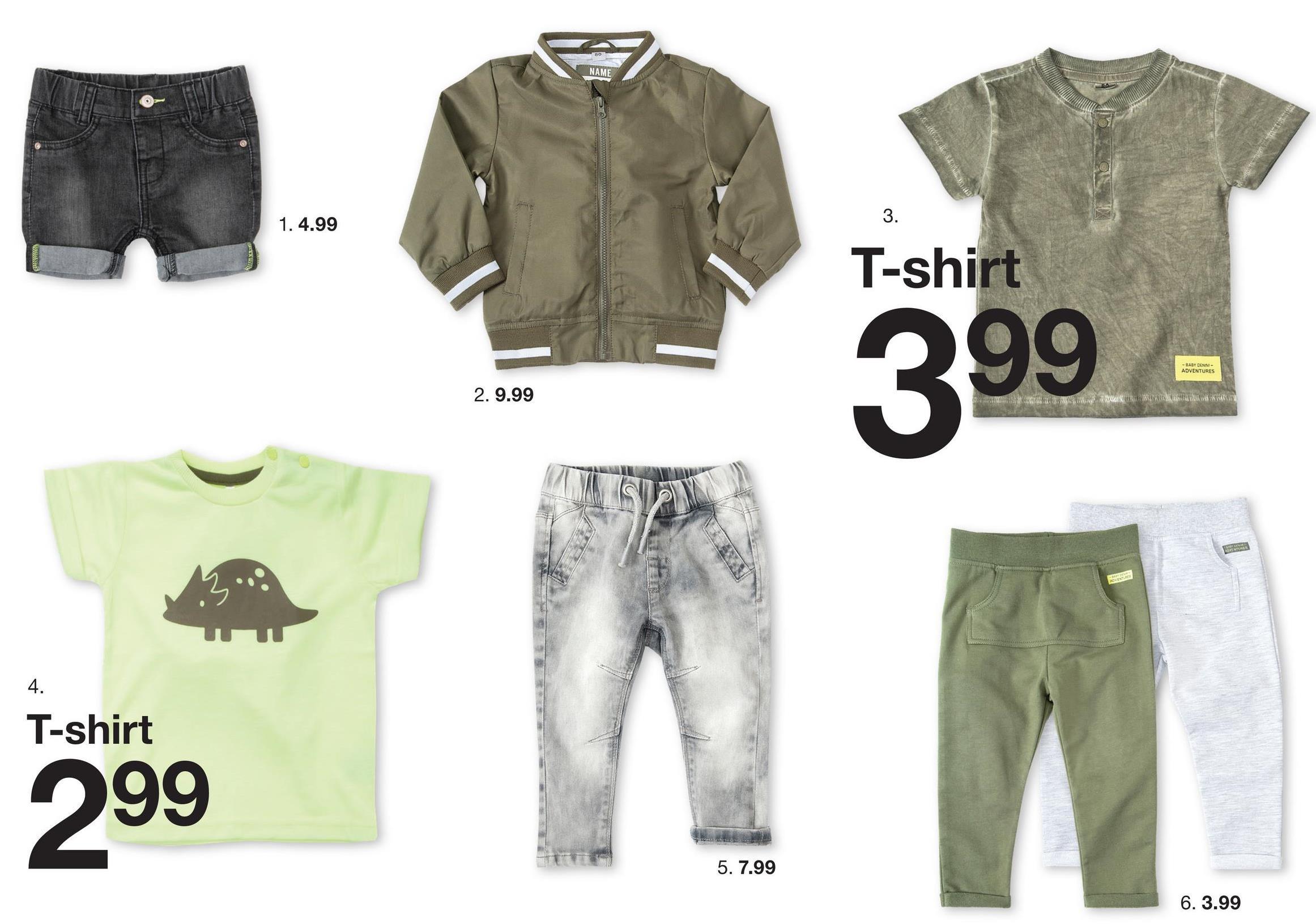 NAME AL 1.4.99 T-shirt 399 - - BABYDEN ADVENTURES 2. 9.99 PLATA KW - 4. T-shirt 299 5. 7.99 6. 3.99