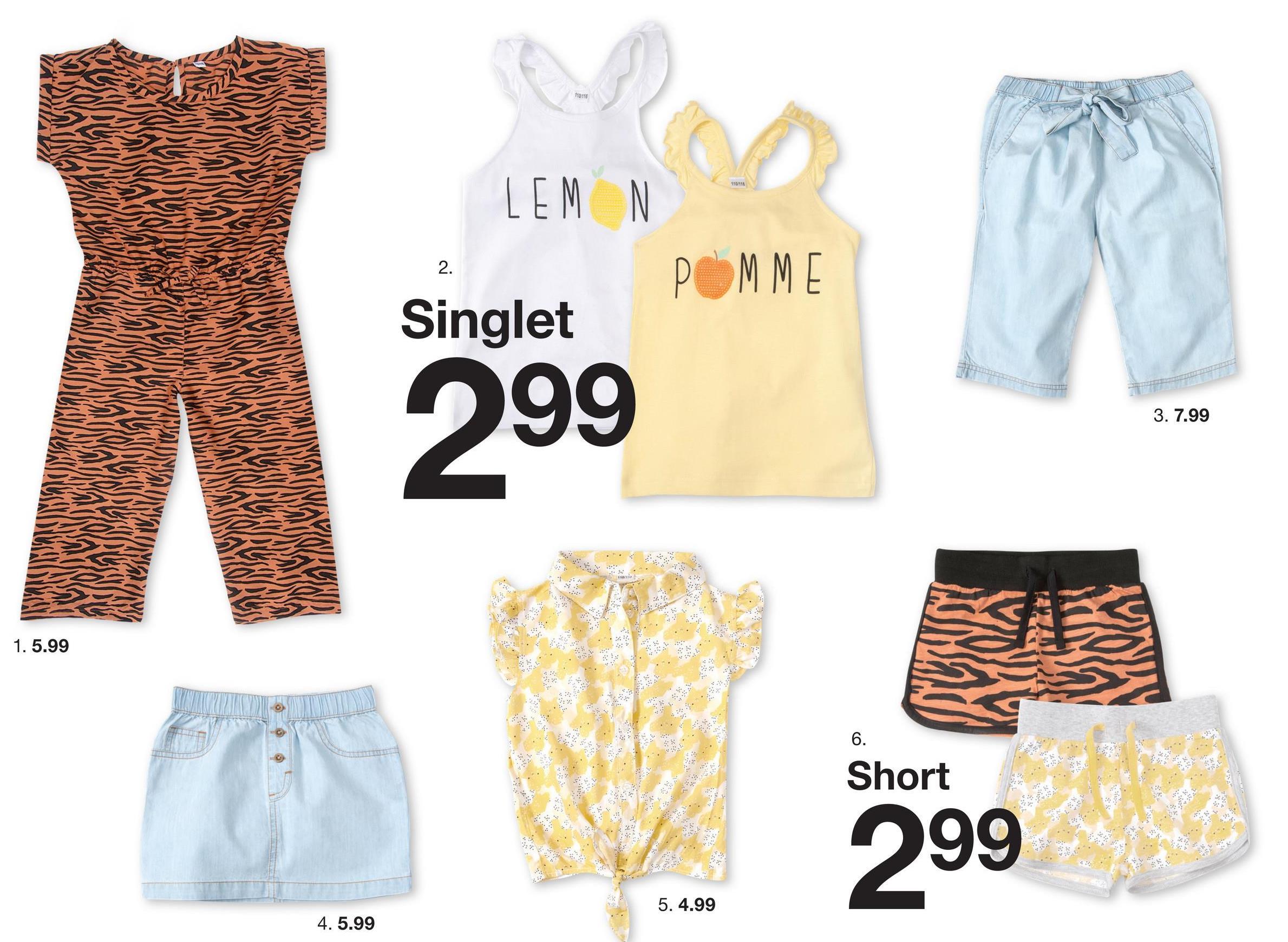 LEMN pММЕ Singlet 299 3. 7.99 1.5.99 Shorts 299 5. 4.99 4. 5.99