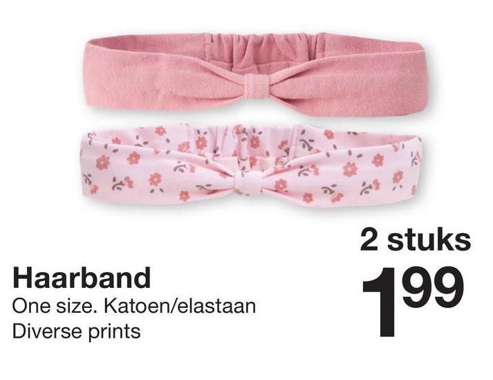 2 stuks Haarband One size. Katoen/elastaan Diverse prints 199