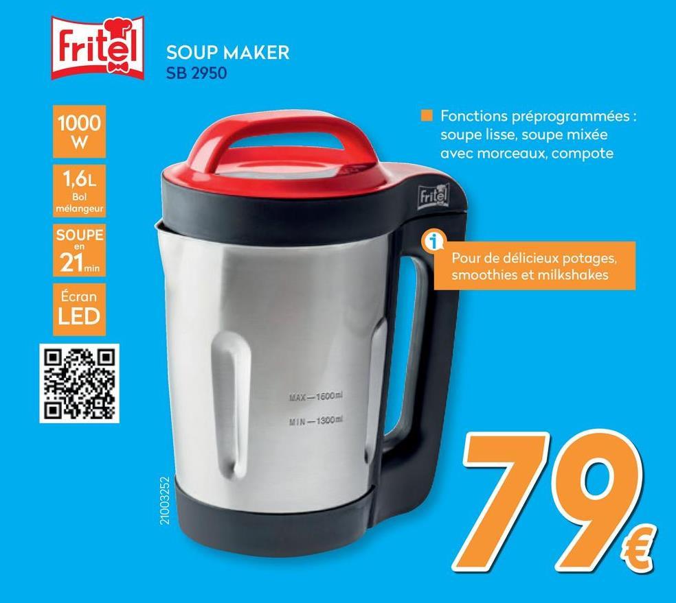 Soupmaker SB 2950  Faire de la soupe fraîche représente beaucoup de travail ? Absolument pas avec le Fritel Soup Maker SB 2590. Avec quelques pressions de bouton vous préparez une soupe chaude, délicieuse et parfaitement mixée. Ce Soup Maker est équipé d'une fonction préprogrammée pour de la soupe lisse, mixée avec morceaux et pour de la compote. Super pratique, car vous n'avez qu'à remplir la cruche avec des légumes et de l'eau. Ensuite vous n'avez plus à vous en occuper et 21 minutes plus tard vous avez de la soupe parfaite. Egalement super pour faire de la compote de fruits. Un appareil à employer toute l'année pour des repas sains!<br> <strong>Fritel, c'est une question de Bon Goût!<br> <br> <u>AVANTAGES PRODUIT&nbsp;UNIQUES</u></strong><br> <br> <strong>Soup Maker idéal pour:</strong><br> • La préparation de compote<br> • Mixer<br> • La préparation de de différentes soupes : julienne—mixée<br> <br> <strong>4 Fonctions préprogrammées:</strong><br> • Smooth (soupe mixée lisse): 21 minutes<br> • Chunky (soupe mixée avec des morceaux): 28 minutes<br> • Compote: 13 minutes<br> • Blend (pulse) : max. 20 sec.<br> <br> <strong>Fonction Memory 2 min. p.ex.:</strong><br> • Lors d'une interruption du courant<br> • Retirer le couvercle pour ajouter des ingrédients<br> <br> • Panneau de commande pratique avec écran LED<br> • Fonction annulation (p.ex. lors du choix d'un programme incorrect)