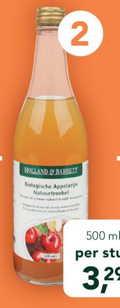 Holland & Barrett Troebel Appelazijn Bio <ul><li>100% biologisch</li><li>Van nature troebel en vol gezonde voedingsstoffen</li><li>Veelzijdig te gebruiken</li></ul>Holland &amp; Barrett Troebel Appelazijn is een 100% biologische ongepasteuriseerde en van nature troebel appelazijn.<br><br>Appelazijn wordt gemaakt van gefermenteerde appels en is een natuurlijk product. Deze troebele appelazijn is onbewerkt en ongefilterd, hierdoor blijft 'de moeder' (de rondzwevende vezels) en alle goede stoffen in de vloeistof behouden.<br><br>Gebruiken:<ul><li>Op de huid helpt appelazijn de pH waarde te neutraliseren en houdt de huid soepel en zacht.</li><li>Wordt vaak gebruikt voor een 'appelazijn-kuurtje' om het lichaam te ontgiften</li><li>Verzachtend voor de keel</li><li>Meng 2 eetlepels appelazijn in een halve liter water en vervang hiermee 1 x per week je haarconditioner voor een diepe reiniging en glanzend haar</li></ul>