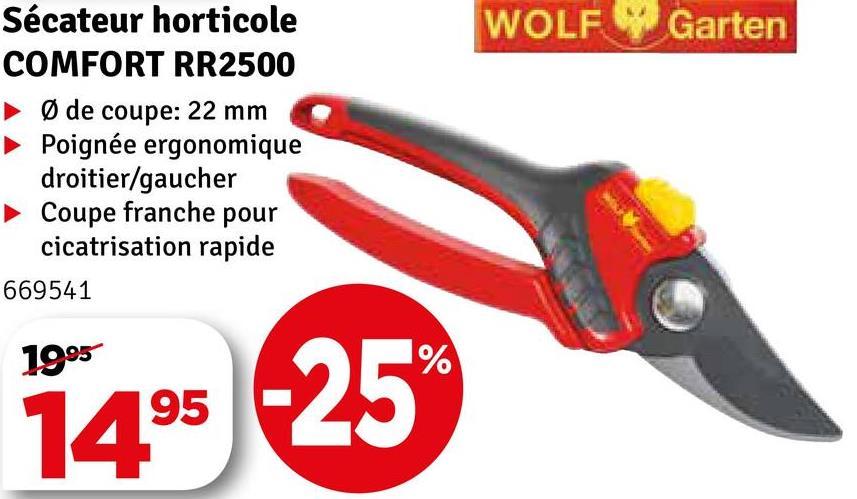 WOLF Garten Sécateur horticole COMFORT RR2500 ► de coupe: 22 mm Poignée ergonomique droitier/gaucher ► Coupe franche pour cicatrisation rapide 669541 1995 14° -25
