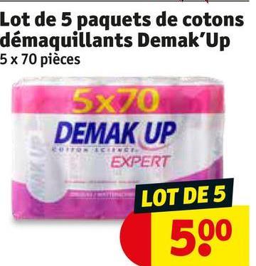 Lot de 5 paquets de cotons démaquillants Demak Up 5x 70 pièces 5x70 DEMAK UP EXPERT LOT DE 5 500