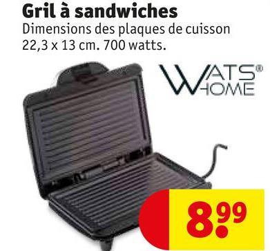 Gril à sandwiches Dimensions des plaques de cuisson 22,3 x 13 cm. 700 watts. WATE 899