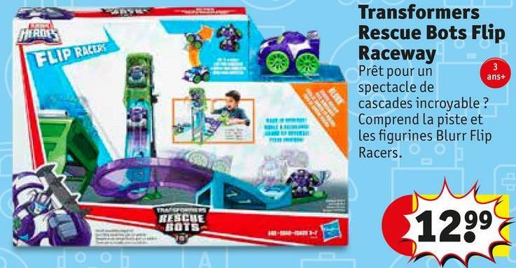 MIROS FLIP RALDE ans+ Transformers Rescue Bots Flip Raceway Prêt pour un spectacle de cascades incroyable ? Comprend la piste et les figurines Blurr Flip Racers. IR DESCHI 1299
