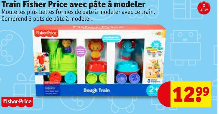 Train Fisher Price avec pâte à modeler Moule les plus belles formes de pâte à modeler avec ce train. Comprend 3 pots de pâte à modeler. ans+ Fisher Price Dough Train 1299 Fisher-Price