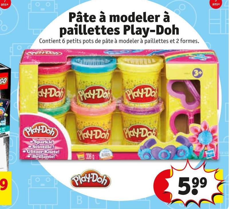 ans+ ans+ Pâte à modeler à paillettes Play-Doh Contient 6 petits pots de pâte à modeler à paillettes et 2 formes. LLLL GO dy Dol Play Doh Playdo Play Do Play-Doh PlayDoh Sparkle osentilled Gutter Knete! Brillante! Play Dos
