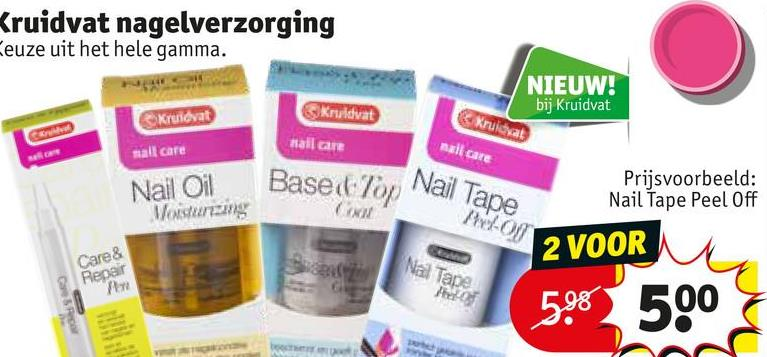 Kruidvat nagelverzorging Keuze uit het hele gamma. NIEUW! bij Kruidvat Kreidvat Krividyat Hallane Kruidvat mall care mall care Nail Oil Masurang Based on Nail Nail Tape Prijsvoorbeeld: Nail Tape Peel Off ON 2 VOOR Care & Nal Tape Repair 5.6 500