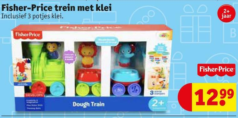 Fisher-Price trein met klei Inclusief 3 potjes klei. 2+ jaar Fisher Price Fisher-Price 3 1299 Dough Train
