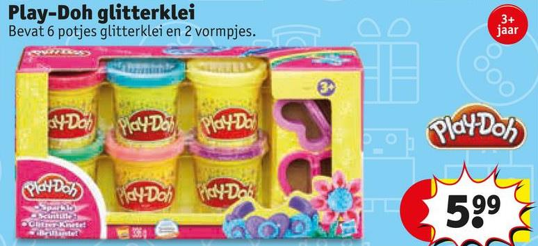 Play-Doh glitterklei Bevat 6 potjes glitterklei en 2 vormpjes. jaar 64-Do) play Daily Play Dol Play-Doh Play Do No4Dch Tidy Dos 99 CTKE Set