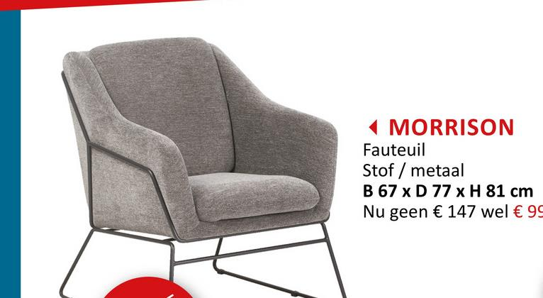 Fauteuil Morrison stof grijs Zitmeubelen Fauteuils