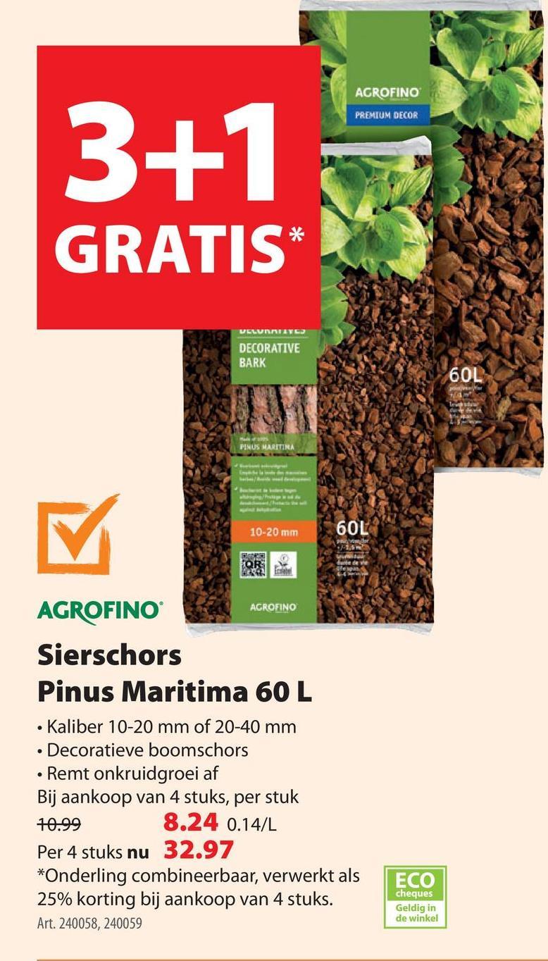 Agrofino bodembedekker sierschors Pinus Maritimus 10-20mm 60 L  Onkruidgroei op een mooie manier voorkomen? Dat doe je met de sierschors van 10 op 20 mm van Agrofino. Daarnaast beschermt het je bodem tot 6 jaar tegen uitdroging. Prachtig, toch? Wie per pallet bestelt, geniet van 10% palletvoordeel.