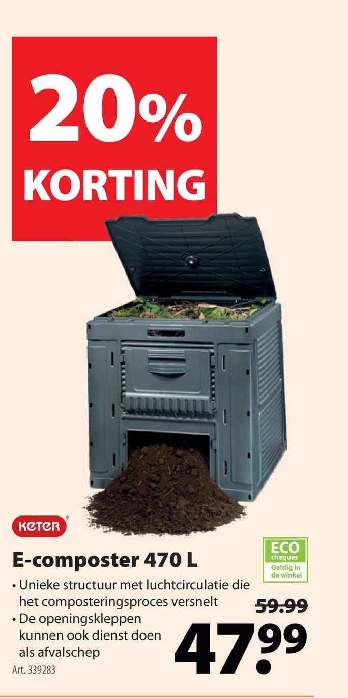 Keter E-composter 470 L zwart 79x79x79 cm Met een compostsilo heb je een eigen groencontainer in de tuin. De Keter E-composter is een compostvat met deksel en luik onderaan. De composter is gemaakt van kunststof en is dus weer- en UV-bestendig. Bovendien is het materiaal onderhoudsvrij. De composter meet 79x79x79 cm en heeft een volume van 470 liter. Kortom, de Keter E-composter is een handige manier om jouw keukenafval, losse bladeren en gras te verzamelen.