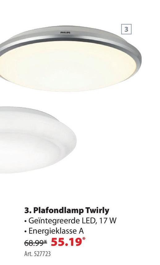 Philips plafonnier Twirly met geïntegreerde LED 17 W 1100 Lm wit De Philips Twirly plafonnière is een ronde plafondlamp met een geïntegreerde ledlamp van 17 watt of 1100 lumen. De moderne 'downlighter' heeft een diameter van 35 centimeter en een omkadering in wit aluminium. Tip: GAMMA en Philips hebben binnen- en buitenverlichting in alle mogelijke uitvoeringen. Is deze lamp niet 100% je ding? Zoek gerust verder in onze ruime online collectie!