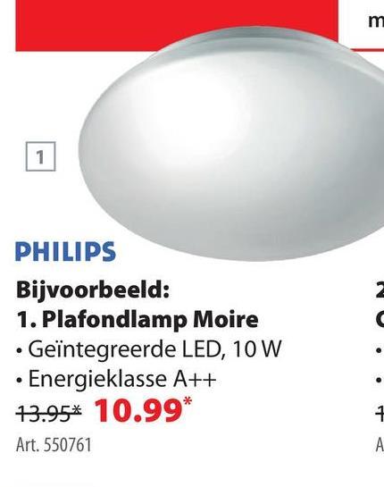 Philips Plafonniere Essentials Moire LED Wit 10W De Philips plafondlamp Essentials Moire LED 10 watt kan je als plafondlamp en wandlamp gebruiken. De elegante platte ronde witte lamp heeft een diameter van 26,5 centimeter en  is energiezuiniger dan de meeste lampen. De plafonnière heeft een vermogen van 16 watt en een lichtsterkte van 1100 lumen. Met een garantie van 2 jaar op het armatuur en 5 jaar garantie op de ledmodule geniet je lang en zorgeloos van deze sfeervolle, duurzame ledverlichting. Ook verkrijgbaar met een ledlamp van 10 watt.