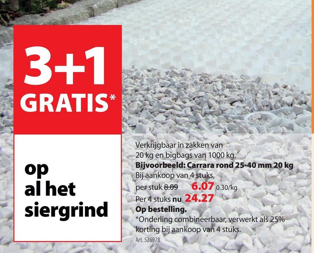Keien Carrara rond 25-40 mm 20 kg Werk je tuin, je voortuin, je tuinpad, je oprit of je plat dak af met siergrind: een betaalbare, duurzame en decoratieve tuinoplossing. Maak je kleuze uit een van de decoratieve materialen die we voor je hebben klaarliggen zoals deze keien Carrara (20 kilogram) van 25 tot 40 mm in de kleur wit. Ook verkrijgbaar in andere afmetingen.