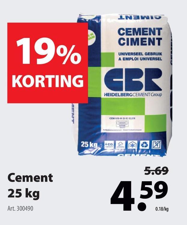 CBR cement 25 kg Bij GAMMA vind je verschillende soorten cement en mortel zoals deze cement (25 kilogram) van Heidelberg. De cement behoort tot de klasse CEM II.