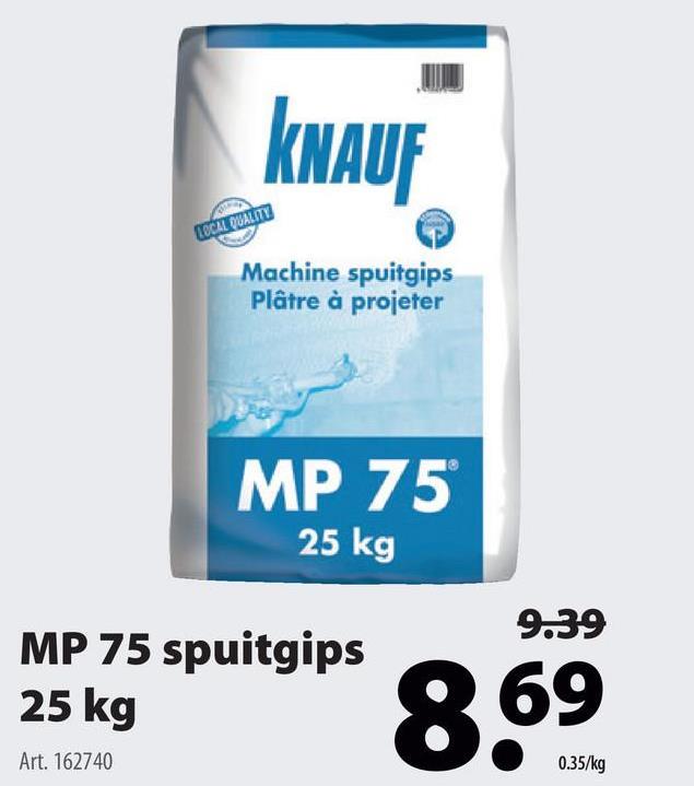 Knauf spuitpleister MP75 25 kg Bepleister je muren en plafonds met de spuitgips (25 kilogram) van Knauf voor een egaal en duurzaam eindresultaat waar je best trots op kan zijn. Ook verkrijgbaar in andere formaten … met hetzelfde resultaat. Goed om te weten: deze gips is geschikt om machinaal te verwerken.