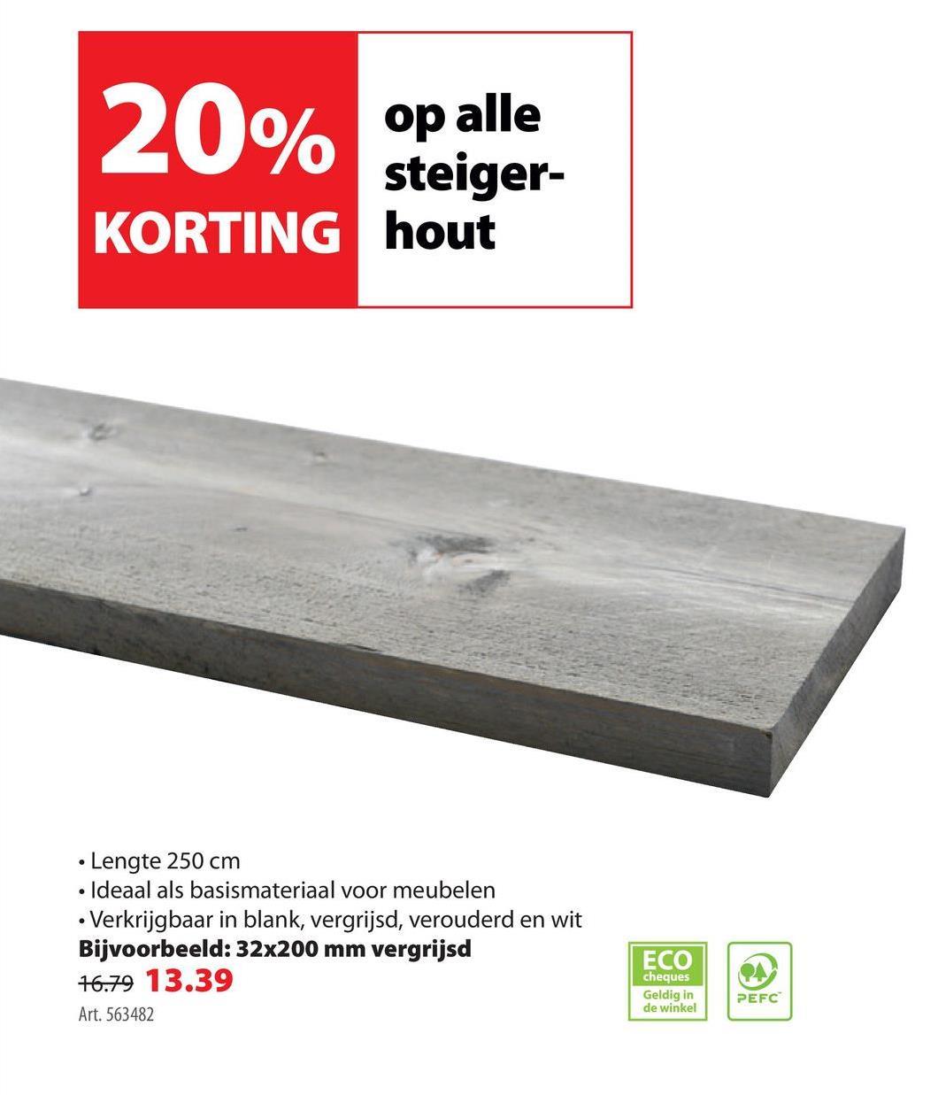 Steigerhout vuren vergrijsd PEFC 32x200 mm 250 cm Met deze plank van steigerhout vergrijsd 32x200mm 250cm creëer je een natuurlijke, vergrijsde sfeer in huis of in jouw tuin. De plank is geschikt voor het maken van de meest uiteenlopende producten. Denk daarbij aan een plantenbak, bed of tuinbank. De plank van 2,5m lengte is 20cm breed en 32mm dik. RAL 7042 komt (bij benadering) overeen met de kleur van het steigerhout. De plank is behandeld met een transparante grey-wash beits. Wil je ideeën opdoen voor een creatief zelfmaakproject? Download dan één van de stappenplannen van deze website. Met deze steigerplank in greywash kan je zelf diverse meubels of accessoires maken.