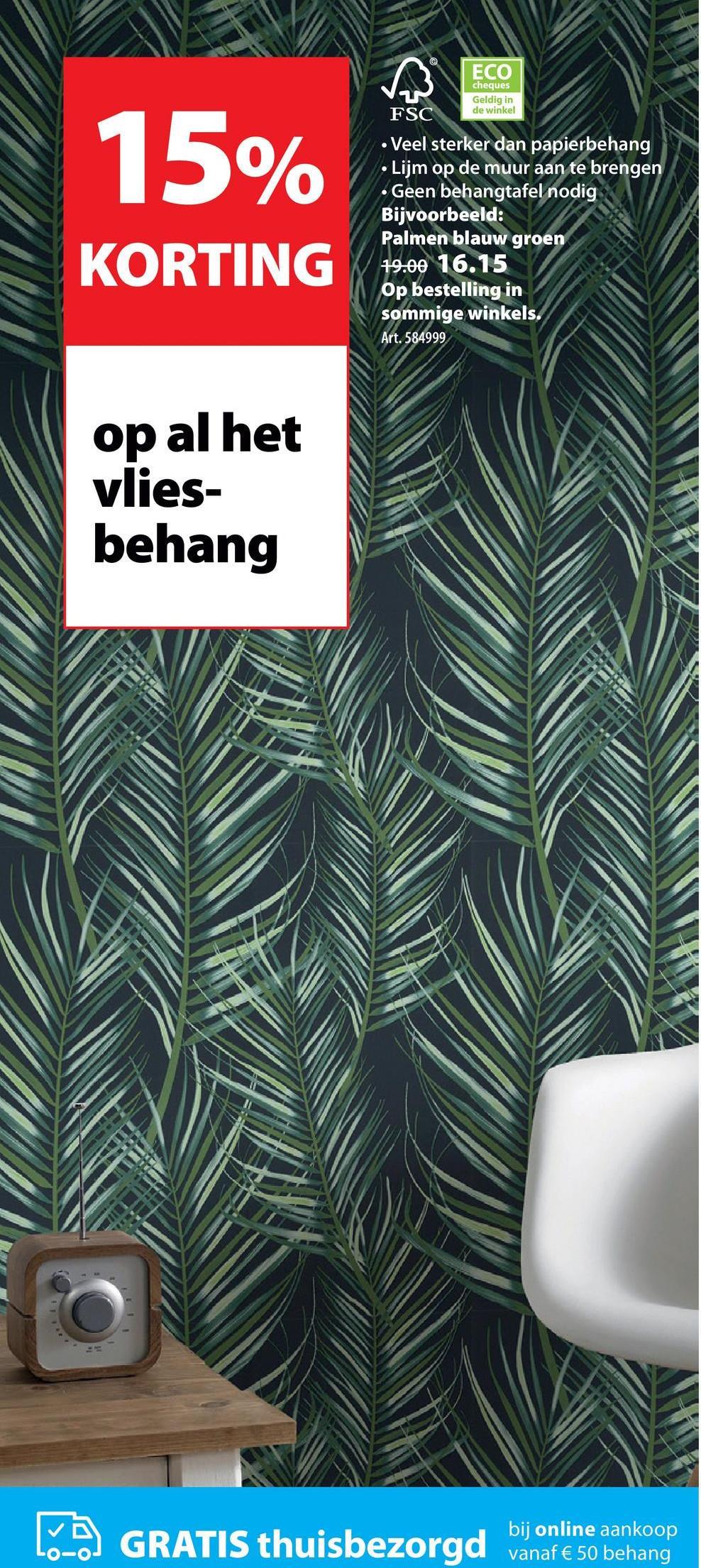 Vliesbehang Palmen blauw (dessin 100558) Met het Vliesbehang - 100558 bekend onder de merknaam Superfresco Easy van Graham & Brown kan iedereen behangen. Vliesbehang is zowel gemakkelijk aan te brengen als te verwijderen, waarbij je geen behangtafel of afstomer nodig heeft. Je brengt eenvoudig de lijm aan op de muur en het behang kan worden geplakt. Voor een zo goed mogelijk resultaat dienen de te beplakken oppervlakken droog, egaal van kleur en vlak te zijn. Vliesbehang - 100558 is onderdeel van het ruime assortiment vliesbehang bij Gamma, waarmee jouw huis voorzien kan worden van een moderne, klassieke of een sfeervolle stijl. Kortom, kies voor Vliesbehang - 100558 als je op zoek bent naar een gemakkelijke en snelle manier om jouw kamer een nieuwe uitstraling te geven volgens de laatste woontrends.