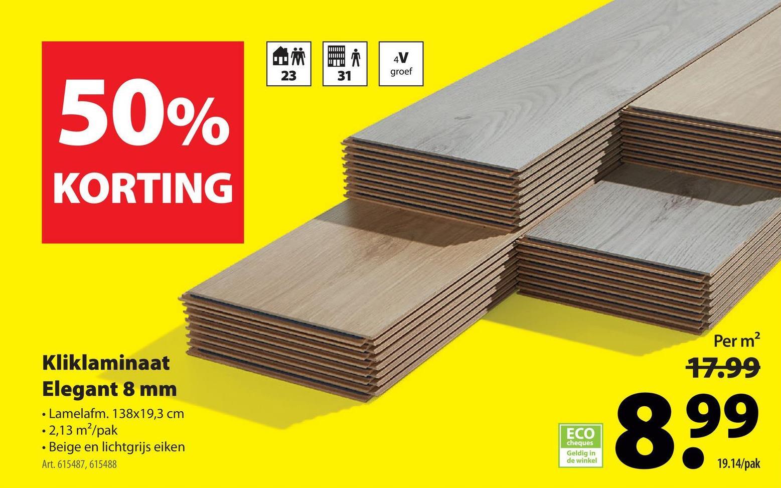 Laminaat Elegant 8mm 4V-groef eiken beige 2,13m² Het Laminaat Elegant in de kleur beige eik is een elegante clickvloer met een voelbare houtstructuur, een originele houtlook en een matte toplaag. Je kan deze antislip vloer razendsnel zwevend leggen in droge ruimtes, zoals je woonkamer en je slaapkamer. Naast de makkelijke installatie staat deze laminaat uit HDF ook bekend voor zijn voelbare houtstructuur en 4V-groef. Ideaal voor wie van parket droomt, maar liever betaalbaar laminaat in huis haalt!