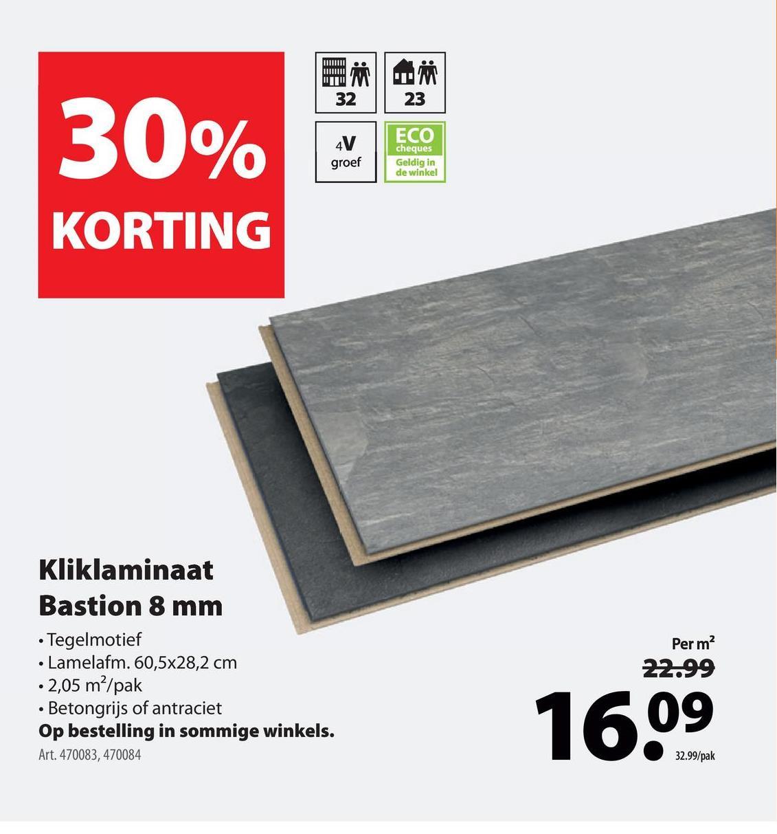 Laminaat Bastion 8 mm 4 V-groef antraciet 2,05 m² Het laminaat Bastion met V-groef in de kleur antraciet is een stijlvolle keuze voor elk modern interieur. Dankzij het tegeldecor is deze vloer een praktisch alternatief voor een echte tegel- of gietvloer. De groef en de voelbare houtstructuur geven deze laminaattegel van 8 millimeter dik daarnaast een natuurlijke uitstraling. Door het kliksysteem is de vloer snel te leggen. Zoals elke GAMMA vloer is het laminaat Bastion eenvoudig te reinigen en daarom goed te onderhouden. Kortom, een prima investering in je interieur. Zeker in combinatie met de bijpassende plinten, die je ook in de webshop van GAMMA vindt. Ook verkrijgbaar in andere tinten.