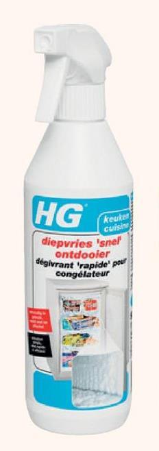 HG snelontdooier diepvries 500 ml Deze diepvries snel ontdooier is geschikt voor mensen die hun diepvries efficiënt willen ontdooien, aangezien het unieke product eenvoudig, snel en effectief werkt. Goed om te weten: HG doet wat het belooft. Het Nederlandse merk heeft een reinigingsproduct of spray voor elke klus, van je keuken tot je tuin. Ontdek het ruime assortiment in de webshop van GAMMA.