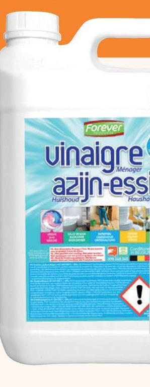 Forever huishoud azijn 14° 5 L De huishoudazijn (5 liter) van Forever is superkrachtig. Gebruik voor verschillende huishoudelijke toepassingen: wassen, je badkamer, je keuken, je tuin en allerhande onderhoudsklussen.
