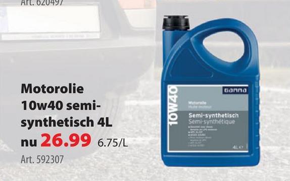GAMMA motorolie 10w40 semi-synthetisch 4 L GAMMA motorolie 10W40 is een semisynthetische (of halfsyntetische) motorolie op basis van rjouwe olie gemengd met synthetische olie. De motorolie is geschikt voor diesel-, benzine- en lpg-motoren. De olie heeft een viscositeit van 10W40. De motorolie is brandstofbesparend en je koopt hem in een voordelige flacon met een inhoud van 4liter. Wil jeeen kleinere verpakking? Bij  GAMMA vind je ook een fles motorolie in dezelfde samenstelling met een inhoud van 1liter.