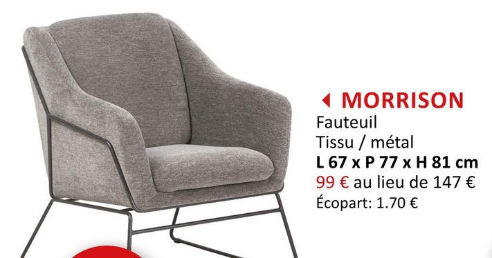 Fauteuil Morrison tissu gris Salons Fauteuils