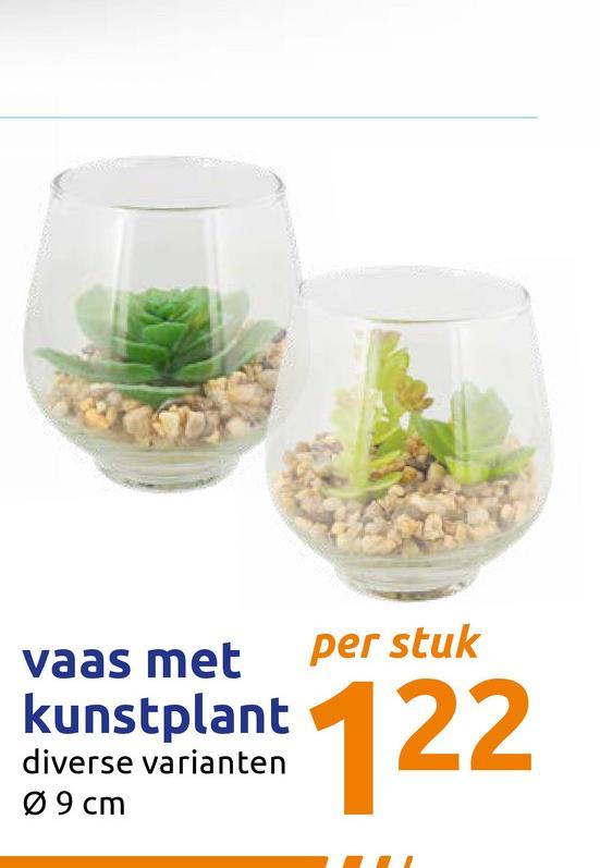 vaas met per stuk kunstplant diverse varianten Ø 9 cm