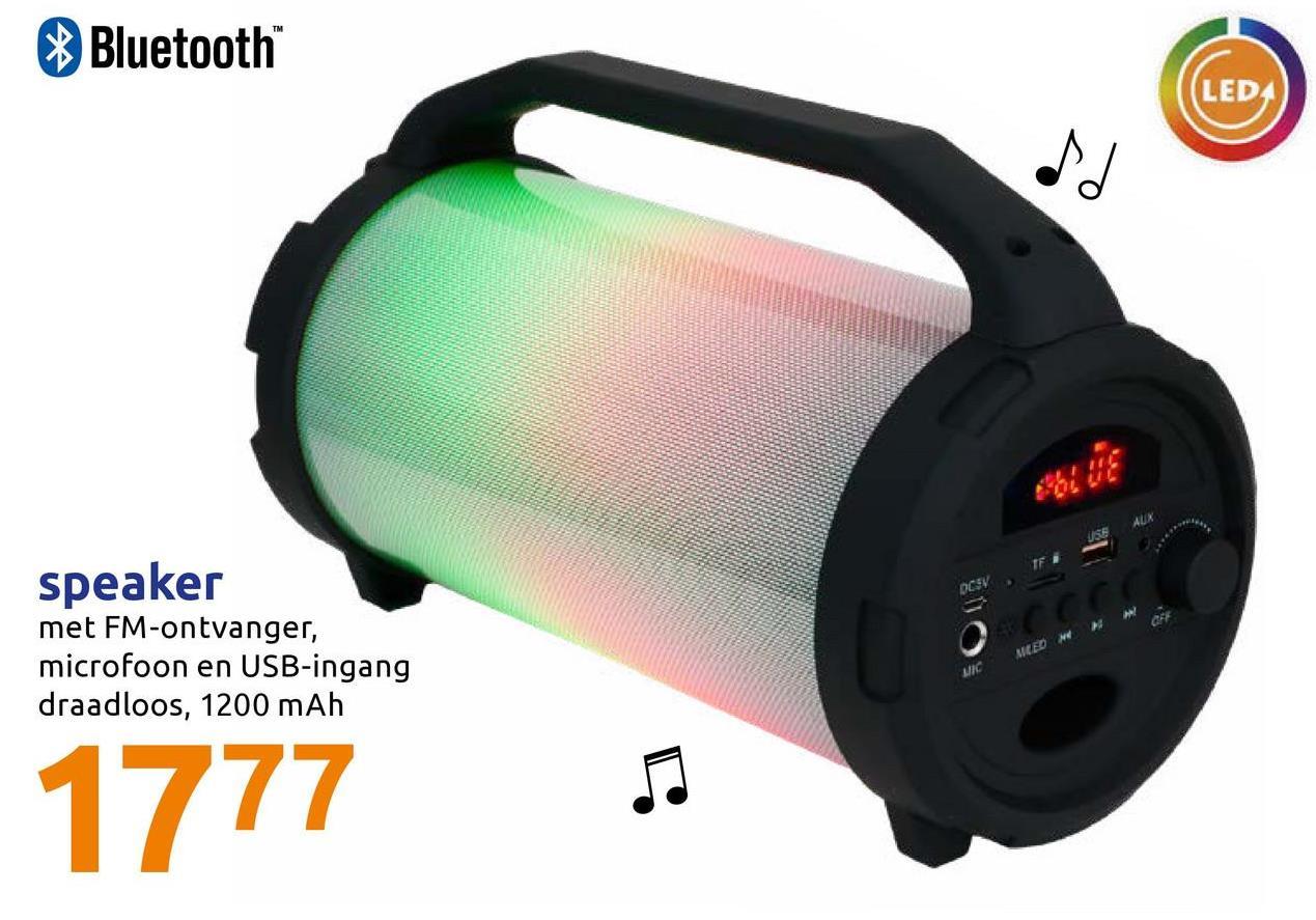 Bluetooth LEDA speaker met FM-ontvanger, microfoon en USB-ingang draadloos, 1200 mAh SEED 1777