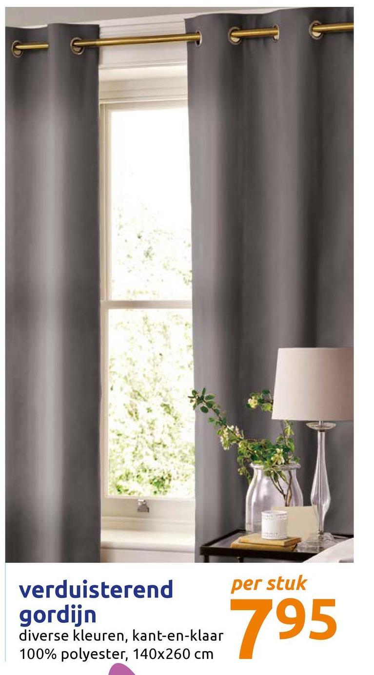 per stuk verduisterend gordijn diverse kleuren, kant-en-klaar 100% polyester, 140x260 cm 195