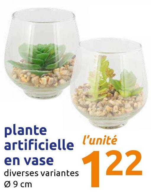 plante artificielle l'unité en vase diverses variantes Ø 9 cm en vaselates 122