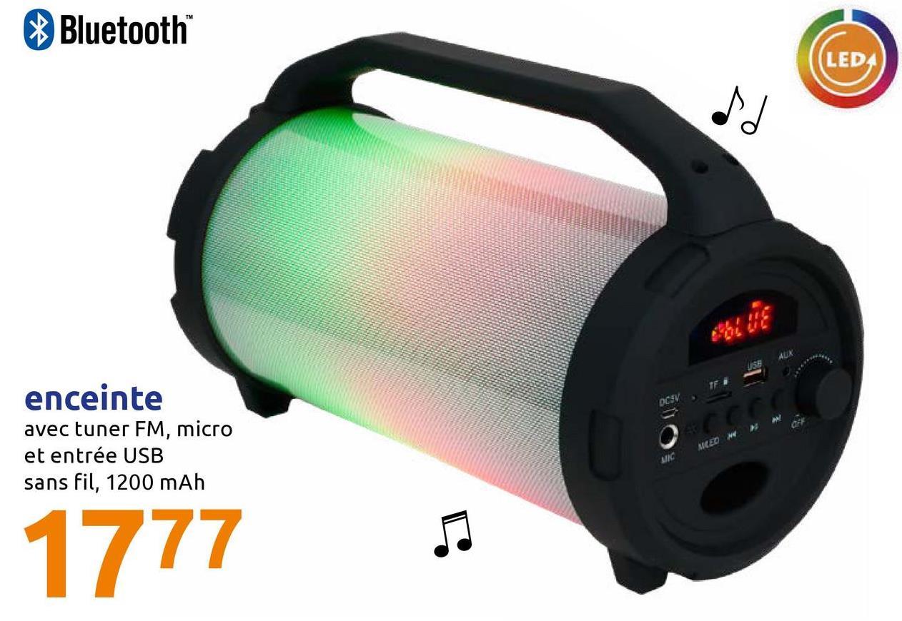 Bluetooth LEDA USEAUX OCSV. F . м enceinte avec tuner FM, micro et entrée USB sans fil, 1200 mAh не и меко міс 1777 D