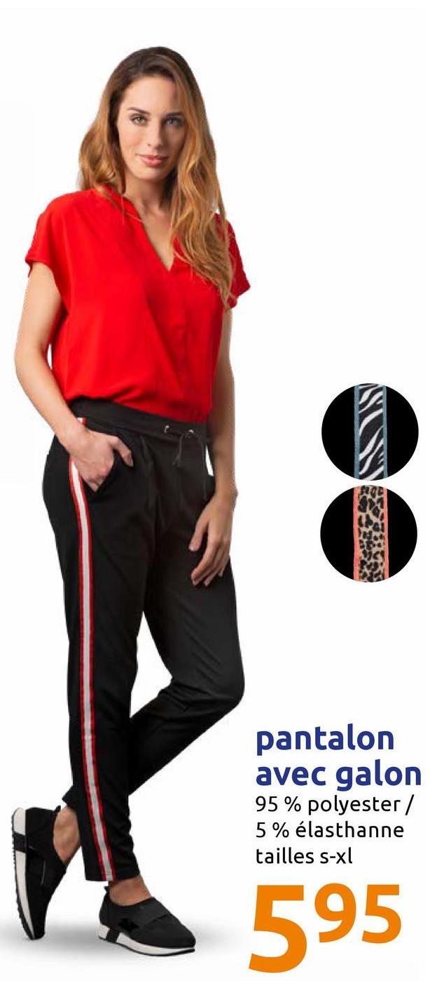 pantalon avec galon 95 % polyester / 5 % élasthanne tailles s-xl 595