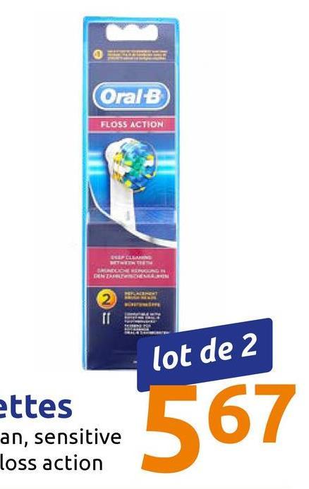 Oral-B FLOSS ACTION LIP CL NAR lot de 2 ettes 567 ettes an, sensitive loss action