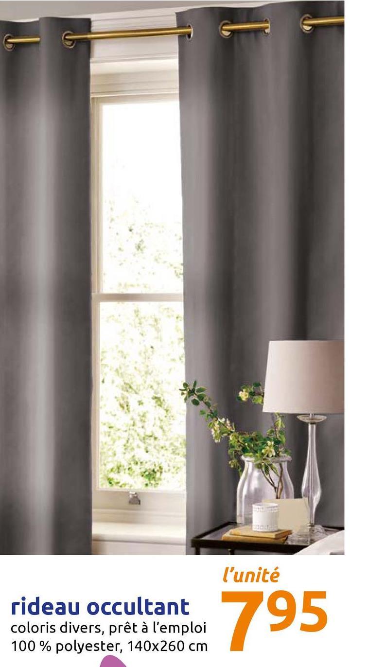 l'unité rideau occultant coloris divers, prêt à l'emploi 100% polyester, 140x260 cm 795