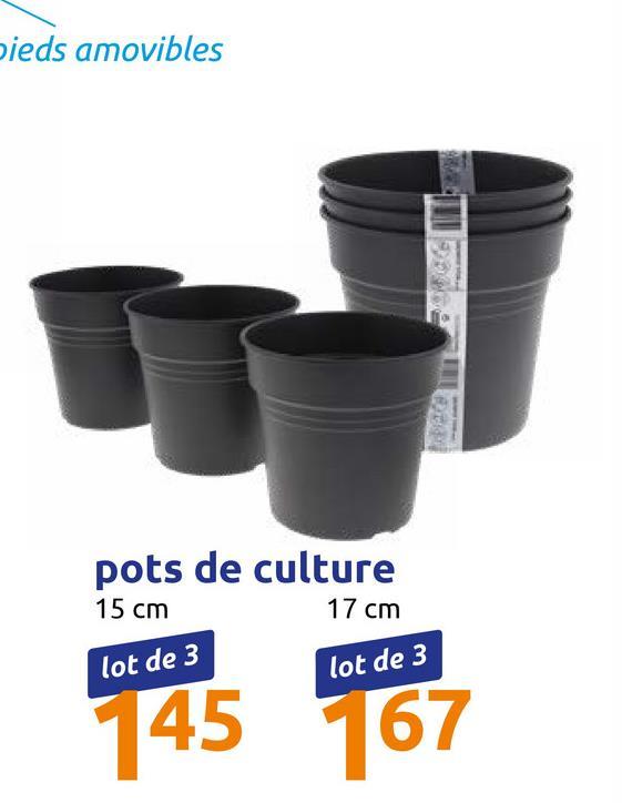 pieds amovibles pots de culture 15 cm 17 cm lot de 3 lot de 3 145 167