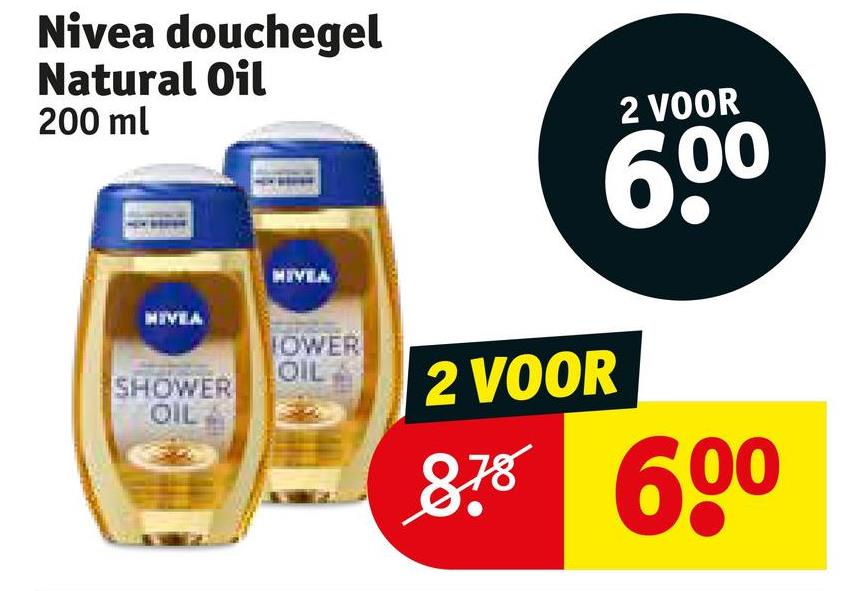 Nivea douchegel Natural Oil 200 ml 2 VOOR 600 NIVEA HIVA TOWER SHOWER 2 VOOR 878 600