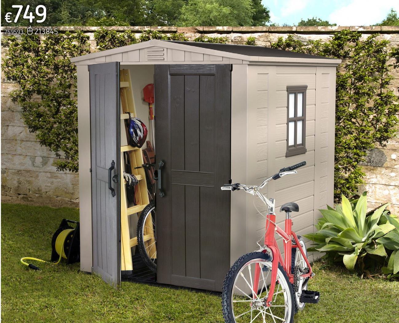Keter Allibert tuinhuis Factor 66 beige/taupe Het kunststof tuinhuis Factor 66 (D 195,5 x B 178 cm) van Keter is onderhoudsvrij, eenvoudig schoon te maken en gemakkelijk te monteren. Het kunststof tuinhuis Factor 66 van Keter is vervaardigd van kunststof en verstevigd met aluminium profielen. Dankzij de dubbele deur is dit tuinhuis ook geschikt voor grotere machines zoals grasmaaiers, scooters, tuinmeubelen, fietsen en tal van andere spullen. Het tuinhuis is afsluitbaar met een hangslot (niet inbegrepen). Dankzij de gedetailleerde handleiding kan je dit tuinhuis snel en eenvoudig monteren.