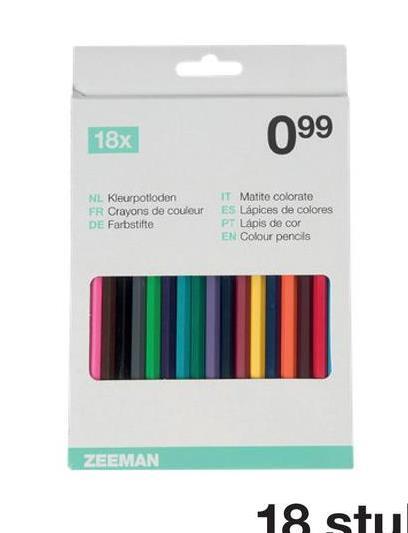18x 099 NL Kleurpotloden FR Crayons de couleur DE Farbstifte IT Matite colorate ES Lápices de colores Pr Lapis de cor EN Colour pencils ZEEMAN 18 stu
