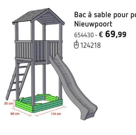BnB Wood bac à sable pour portique Nieuwpoort