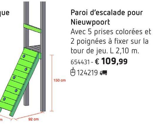 Paroi d'escalade pour Nieuwpoort