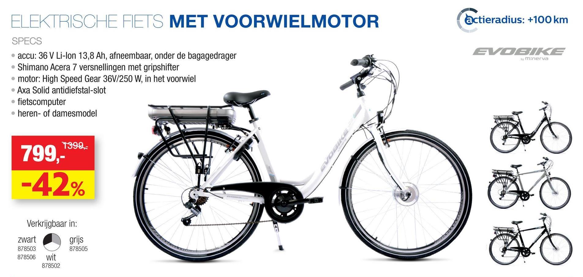 """Elektrische damesfiets F-motor 36V zwart De elektrische damesfiets Evobike Acera ziet eruit als een gewone fiets, want de makkelijk uitneembare accu is netjes weggewerkt onder de bagagedrager. Deze zwarte elektrische fiets met F-motor is een sportieve damesfiets met voorwielaandrijving en een open kettingkast voor een sportief karakter.<ul><li>Remmen: Shimano V-brake voor en achter</li><li>Versnellingen: Shimano Acera 7 versnellingen met gripshifter</li><li>Motor: High speed gear 36V 250W in het voorwiel</li><li>Accu: Li-ion 36V 13,8Ah, afneembaar onder bagagedrager</li><li>Actieradius accu: ongeveer 100km</li><li>Traploze ondersteuning door middel van computer op het stuur</li><li>Wielmaat: 28""""</li><li>Hoogte frame: 49cm</li><li>Slot: Axa Solid</li><li>Banden met zijreflectie</li><li>Verstelbare stuurpen</li></ul>"""