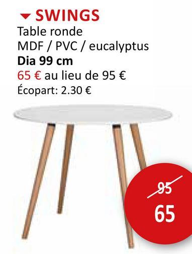 Table ronde Swings Ø99cm Tables Tables De Salle à Manger